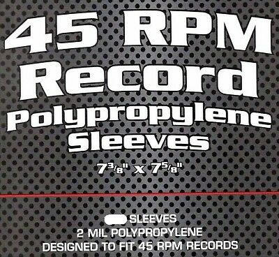 """~20 BCW Clear 45 rpm Record Polypropylene Sleeves (7-3/8"""" X 7-5/8"""")"""
