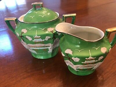 Vintage Creamer Sugar Green Pagoda Raised Moriage Hand Painted Takito Japan