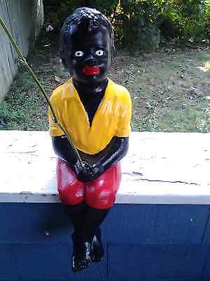 Boston Blackie  Black Gangsa Fishing Boy Jr. Statue.(Lawn Jockey Buddy),yard Art