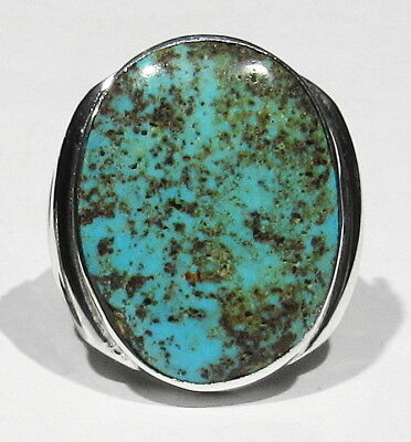BIG Old Signed Navajo Natural Stormy Mountain Turquoise 925 Silver Mans Ring 10