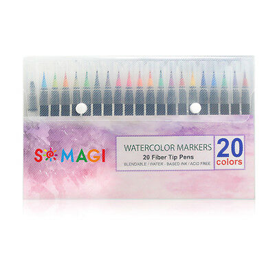 Newest Watercolor Brush Water Based Lettering Marker Calligraphy Pen 20 Colors