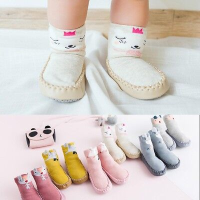 Newborn Infant Baby Non-slip Cotton Socks Toddler Boy Girl Soft Sole Shoes Boots