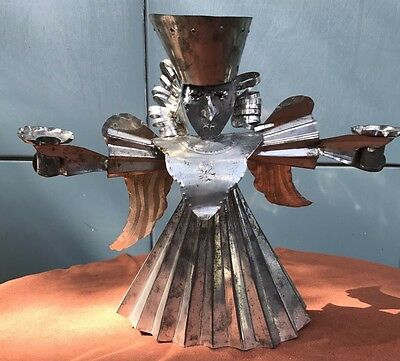 "Large 14""   Mexican Folk Art  Tin Winged Angel Candle Holder Christmas"