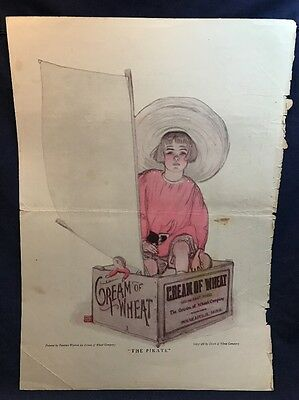 "1920 11x16 Ad CREAM OF WHEAT ""The Pirate"" Florence Wyman Crate Box Boat Boy Toy"