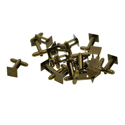 20x Bronze Cufflink Blanks Square Flat Pad 10mm Cabochon Settings Findings