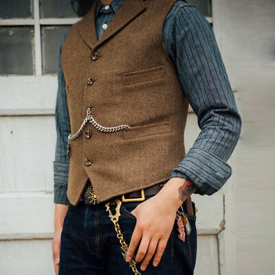 Mens Vintage Wool Blend Tweed Collared Tailored Herringbone Lapel Waistcoat Vest