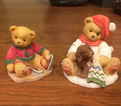 Lot Of 2 Winter Cherished Teddies- Lee and Jerome