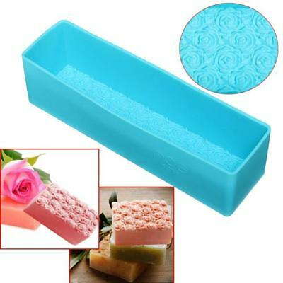 Rose Flower Silicone Soap Mold Rectangle Soap Mold Loaf Cake Chocolate DIY D