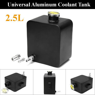 Universal black Aluminum Radiator Coolant Overflow Tank Water Bottle 2.5L AU