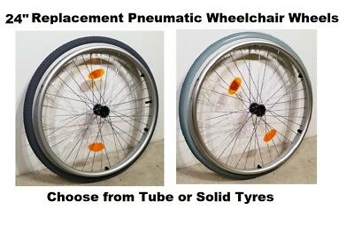 "2 x 24"" Replacement Self-Propel Wheelchair Wheel Lightweight Solid or Tube Tyres"