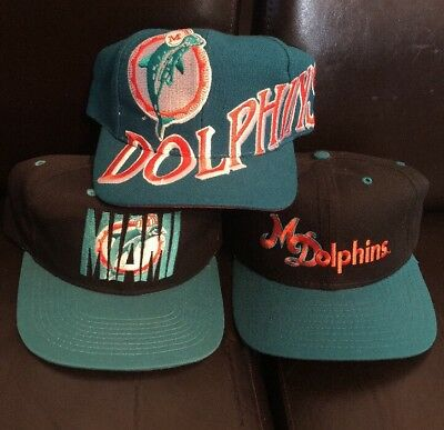 on sale c93df b430b ... spain lot 3 vtg 90s miami dolphins snapback hats mint condition 75ae6  a28ea