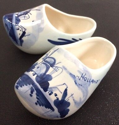 Pair Of Vintage Hand Painted Delft Pottery Clogs Shoes Holland Windmill Ornament