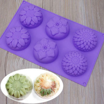 High Quality 6 Cavity Flower Shaped Silicone DIY Handmade Soap Candle Cake Mold