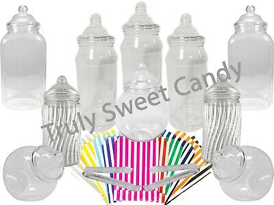 10 Assorted Plastic Sweet Jars 2 Tongs 50/100 Bags 2 STYLES OF LID Candy Buffet