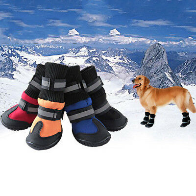 UK 4PCS Pet Dog Waterproof Snowboot Winter Warm Rain Shoes Puppy Non-Slip Boots
