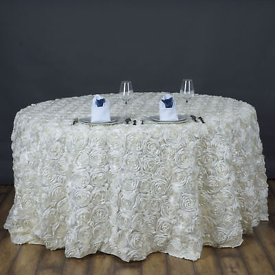 Ivory Ribbon Roses 120 Round Tablecloth Fancy Wedding Party Catering Linens