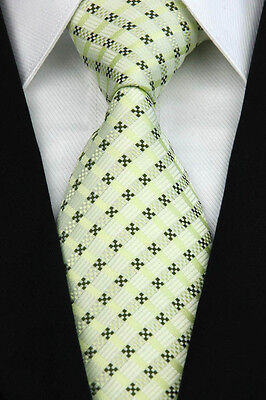 Green Black Dot Classic JACQUARD Woven Silk Necktie Business Men's Tie
