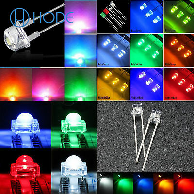 3-10mm LED Diodes Light Round/Straw Hat/Flat/Rectangle/Piranha Clear/DIFFUSED UK