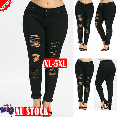 Plus Size Women Stretch Ripped Skinny Denim Pants Jeans Casual Trousers Jeggings