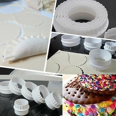 6Pcs Home Round Plastic Scalloped Cookie Pastry Foundant Cake Cutter Molds BD4U