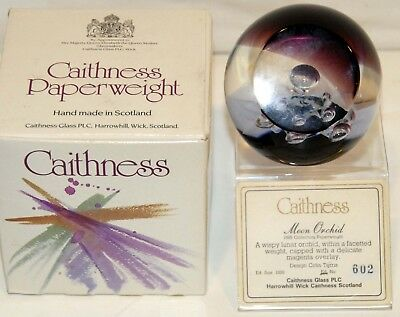 "Caithness ""Moon Orchid"" Paperweight Limited Edition 602/1000 by Colin Terris"