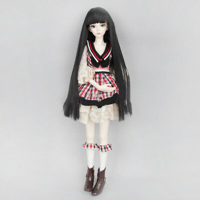 Black Long Straight Hair Wig Hairpiece for 1/4 BJD SD Dolls Clothes Accs