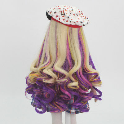 Golden Purple Curly Hair Wig for 18inch American Doll DIY Clothes Accessory
