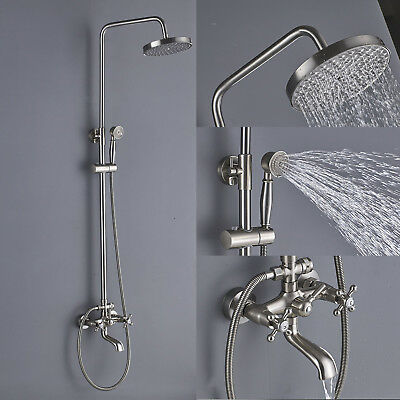 Shower Faucet System 8''Rainfall With Hand Shower Tub Filler  Brushed Nickel
