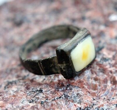 Ancient Medieval Bronze Finger Ring With Amber Inlay (AVG01)