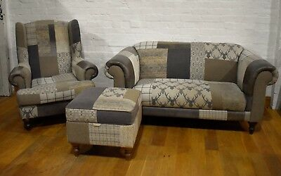 CAPSULE - Patchwork 3 piece suite - sofa - wingback chair and storage stool