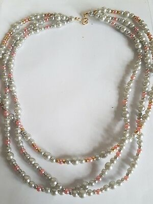 Pink Silver Beaded Triple Layer Vintage Necklace