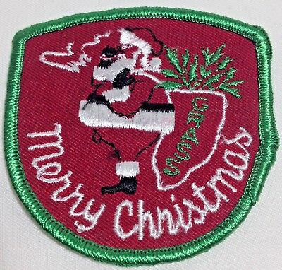 Adult Merry Christmas Sew On Patch Pot Smoking Santa Grass Biker Humorous