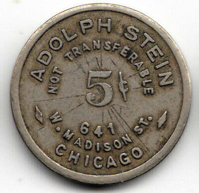 Chicago IL token - Adolph Stein, Billiards & Pool - 5c - nickel comp - Illinois