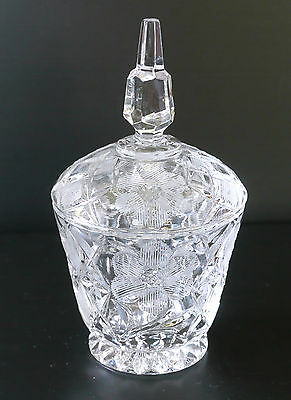 Vintage or antique cut glass mustard jam condiment tobacco jar with lid