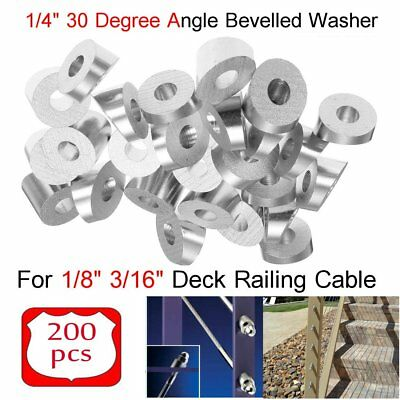 """T316 Stainless Steel 30 Degree Angled Washer 1/4"""" Bore, 1/8"""" 3/16"""" Cable Railing"""