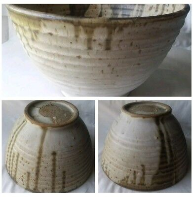 Vintage Hand Crafted Pottery Art Ceramic Big Mixing Bowl Signed Rustic Style