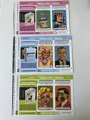 6 Vintage Original French Paper Company Match Card Ad Inserts 2006/07_1 of 2