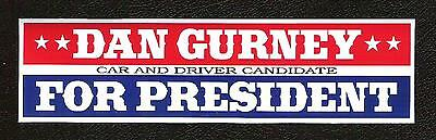 Dan Gurney For President Sticker, Car and Driver Vintage Sports Car Racing Decal