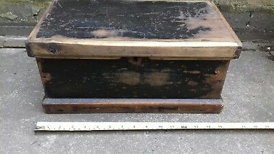 Antique Pine Black Painted Box Chest. Woodworkers Box? Tool Box?