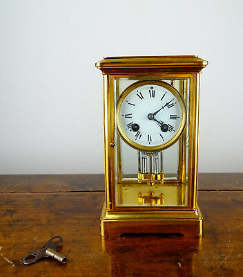 Antique French Crystal Four Glass Mantel Clock Brass Chiming Regulator 8 Day