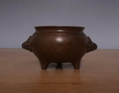 Xuande Signed Antique Chinese Bronze or Copper Incense Burner w/lions