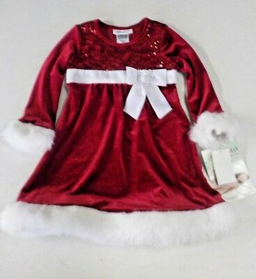 Girls Size 4 Bonnie Jean Red Velvet/Sequin Long-Sleeve Holiday Dress Nwt #12003