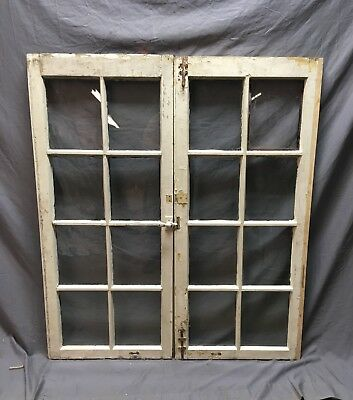 Pair Antique 8 Lite Casement Windows Vtg Old 21x48    16-18C