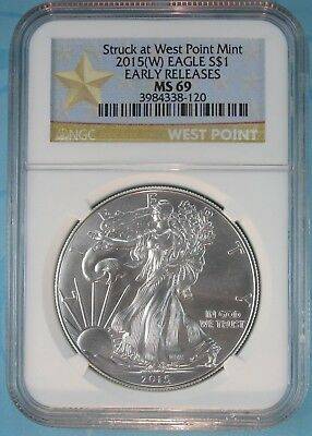 2015 (W) Ngc Ms69 Silver Eagle Struck At West Point Early Releases Star Label