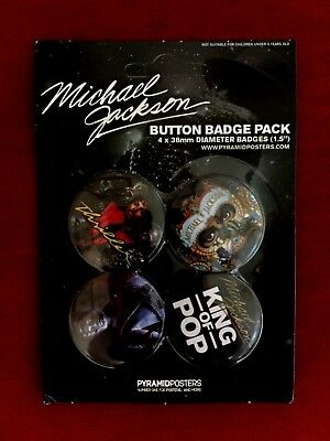 Official Michael Jackson 1997 King of Pop Merchandise 4 Pack Pin Badges Sealed
