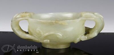 Antique Chinese Carved Jade Handled Bowl Cup With Creature Form Handles