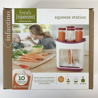 Infantino Squeeze Station Organic Baby Food Storage Traveling Include 10 Pouches