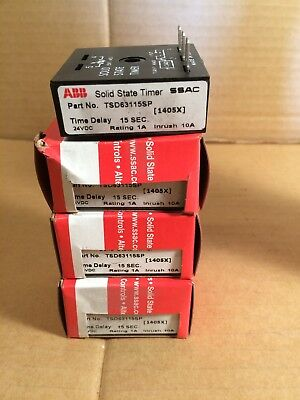 Lot of 4 ABB Solid State Timer SSAC # TSD63115SP Time Delay 15sec 24VDC [1405X]