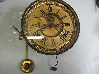 An American Ansonia Visible Escapement Clock Movement with Pendulum