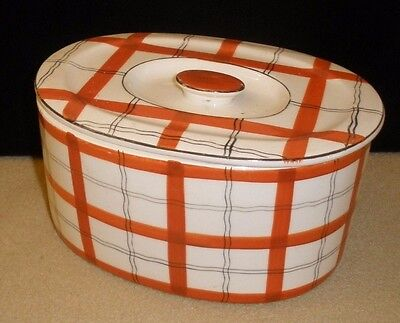 Vintage White/Orange/Black Plaid Serving Dish with Lid from Japan - 7 7/8""